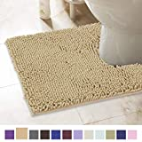 ITSOFT Non-Slip Shaggy Chenille Toilet Contour Bathroom Rug with Water Absorbent, Machine Washable, 21 x 24 Inches U-Shaped Beige