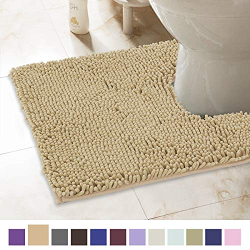 ITSOFT Non-Slip Shaggy Chenille Toilet Contour Bathroom Rug with Water Absorbent, Machine Washable, 21 x 24 Inch U-Shaped Beige