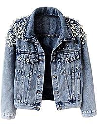 Women's Embroidered Rivet Pearl Short Denim Jacket Coat