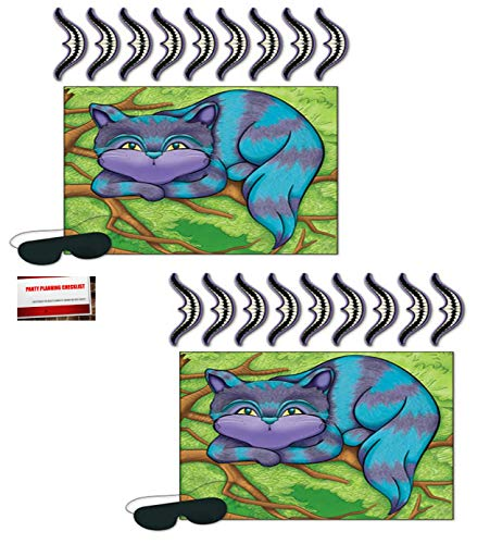2 Pack Pin The Smile on the Cheshire Cat Alice in Wonderland Pin the Tail Games (Plus Party Planning Checklist by Mikes Super Store) ()