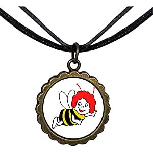 Chicforest Bronze Retro Style Flying Happy Honeybee Round Flower Pendant