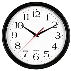 UrbanWare Large Decorative Wall Clock - Quartz Sweep - Easy to Read - Round Black Frame - Battery Operated - White Face - 10 Inch