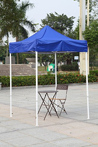 American Phoenix Canopy Tent 5x5 feet Party Tent [White Frame] Gazebo Canopy Commercial Fair Shelter Car Shelter Wedding Party Easy Pop Up (Blue) (Blue Gazebo)