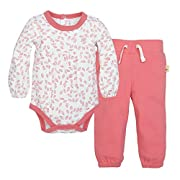 Burt's Bees Baby Baby Organic Long Sleeve Bodysuit and Pant Set, Chrysanthemum, 6-9 Months