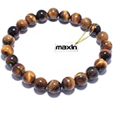 Real Natural Gemstones Bracelet , maxin 8mm Genuine Yellow Tiger Eye Semi-Precious Gemstones Healing Power Crystal Elastic Stretch Loose Beaded Bracelet