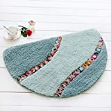 YJBear Semicircle Flower Decorated Coral Fleece Microfiber Entrance Doormat Absorbent Home Decor Hand Woven Area Rug Carpet Non-skid Outdoor Floor Mat Light Green 16'' X 24''