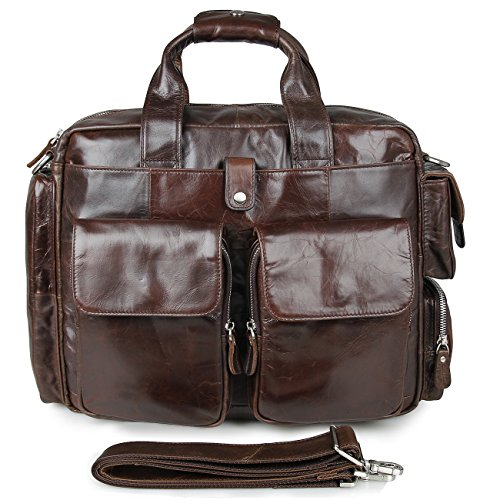 CLEARANCE SALES! ESD Genuine Leather Briefcase Messenger Bag for men Fit 15'' Laptop Esd Tote Boxes