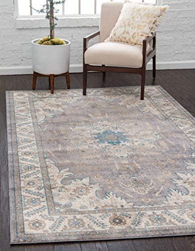 Unique Loom Salzburg Collection Traditional Oriental Gray Area Rug 6 0 x 9 0