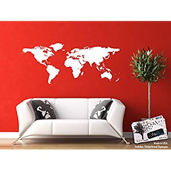 white world map wall decal sticker home decor vinyl wall art large