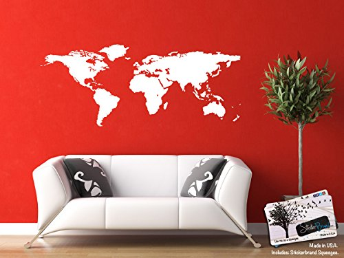 Die Cut Wall (White World Map Wall Decal Sticker - Stickerbrand Home Decor Vinyl Wall Art. Large (21in X 51in) Die-Cut Size. Removable.)