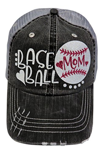 Glitter Baseball Mom Heart Distressed Look Grey Trucker Baseball Cap Sports (White/Fuchsia Glitter)