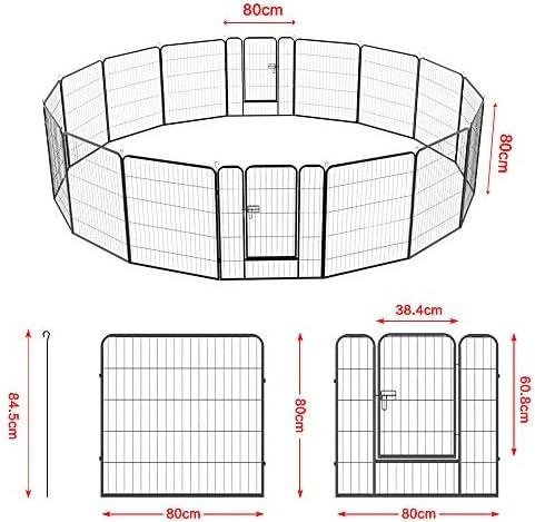 Yaheetech 16 Panneaux Parc Enclos pour Chiens Chiots Lapins Animaux de Compagnie Exterieur Interieur avec Porte Métal 80 x 80 cm Noir