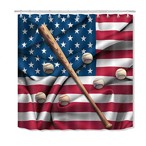 LB Baseball Shower Curtain,3D Printing Baseballs and Bat on American National Flag Art Print Sport Theme Shower Curtain 72x72 Inch Waterproof Anti Mildew Fabric with 12 Hooks
