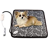 wangstar Pet Heating Pad, Adjustable Warning Pet Heat Mat for Dogs or Cats with Chew Resistant Steel Cord, Waterproof Electric Heating Pad (17.7''x17.7'')