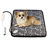 wangstar Pet Heating Pad - Adjustable Warning Pet Heat Mat for Dogs or Cats with Chew Resistant Steel Cord - Waterproof Electric Heating Pad (17.7''x17.7'')
