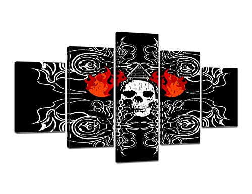 Gore Panel - Large Rustic Skeletons Design Painting on Canvas Red Flames Black Wall Art Evil Scary Home Decor Day of The Dead Picture,Framed Artwork for Living Room 5 Panel Stretched Ready to Hang(60''Wx32''H)