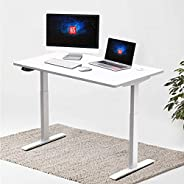 Hi5 Electric Height Adjustable 120x60cm Rectangular Standing Desks - Pure White Top, White Frame pure White To