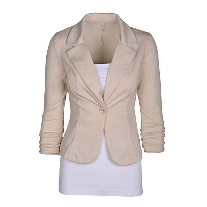 ba00e6f4a4a Womens One Button Slim Fitted Blazer Jacket Suits Tailored Work Office  Blazer Coat Outerwear 14 Colors  Amazon.co.uk  Clothing