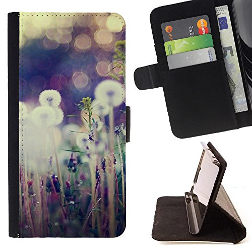 God Garden - FOR Apple Iphone 5C - Nature - Glitter Teal Purple Sparkling Watercolor Personalized Design Custom Style PU Leather Case Wallet Fli