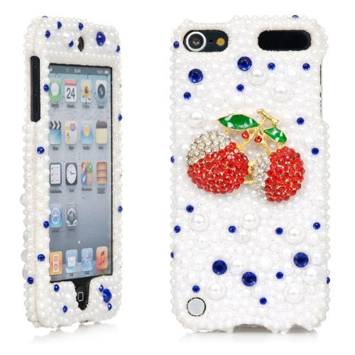 iPod Touch, 3D White Pearl Bling Rhinestone Crystal Jeweled Snap on Full Cover Case for Apple iPod Touch 6th Gen 5th Gen (Red Cherry)