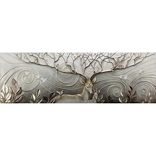 DIY 5D Diamond Painting by Number Kits, Full Drill Crystal Rhinestone Embroidery Pictures Arts Craft for Home Wall Decoration Elk 15.7 x 47.2 Inch