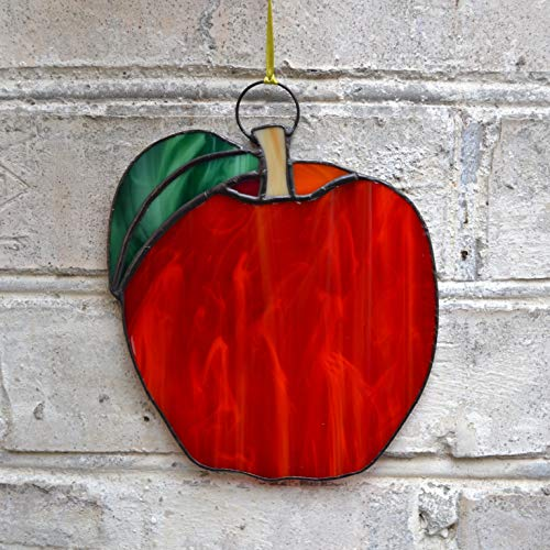 ZangerGlass Red Apple Stained Glass Fruit Themed Suncatcher Window Hanging or Wall Decor for Home ()