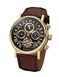 """Pionier - high quality automatic wrist watch Chicago """"Gold Black Leather"""" stainless steel with italian leather strap, two year warranty - 35 Jewels - Made in Germany"""
