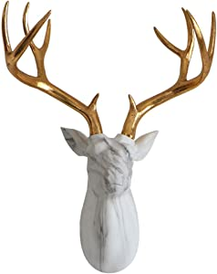 LIUSHI Deer Head Wall Hanging, Stag Head Sculpture Wall Decoration Solid Animal Trophy Statue,White