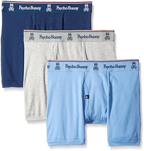 Blue Vintage Underwear (Psycho Bunny Men's 3 Pack Vintage Boxer Brief, Navy/Light Blue/Heather Grey,)