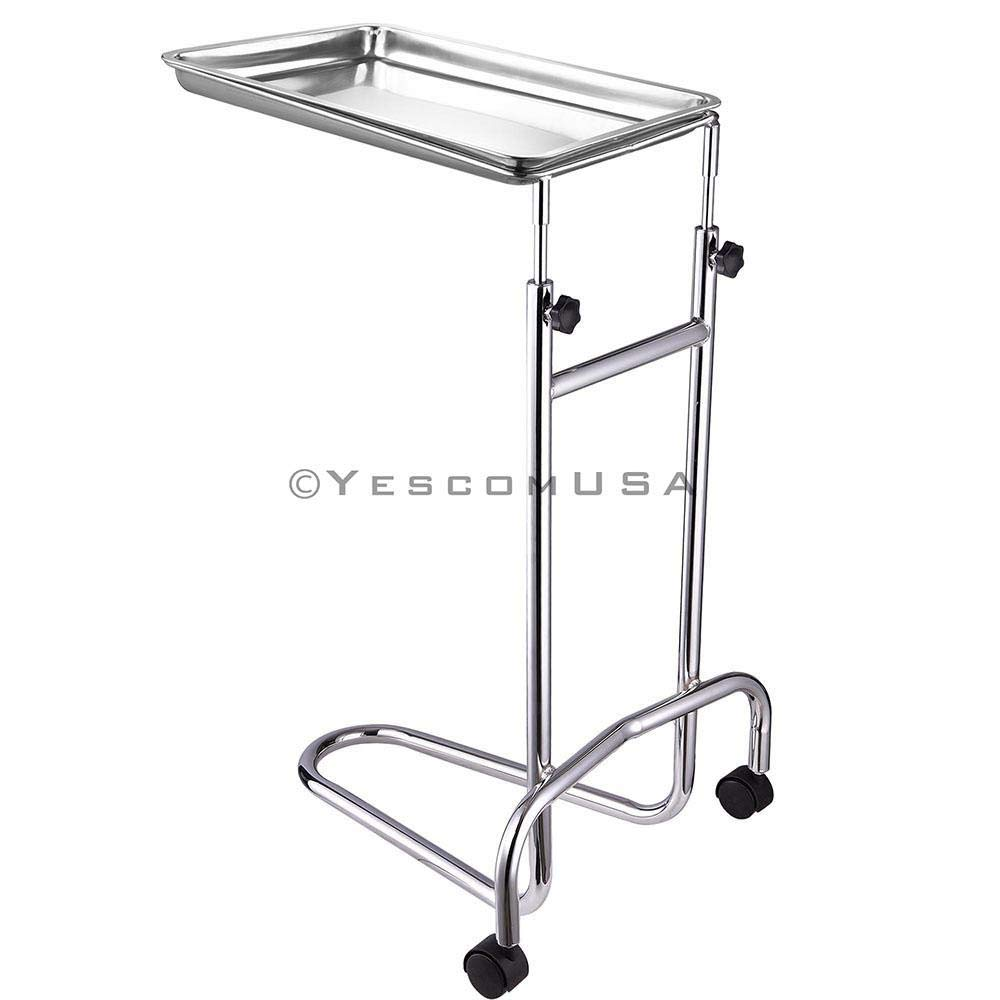 19x13x1 Inches Mayo Instrument Stand Adjustable Height w/ Removable Stainless Steel Tray Double Post for Professional Medical Supplies Hospital Patient by Generic