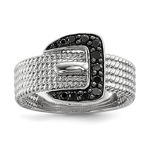 Ring Buckle Diamond (Sterling Silver Black Diamond Buckle Ring Size 8)