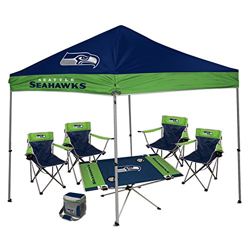 NFL Hall of Fame Tailgate Bundle - Seattle Seahawks (1 9X9 Canopy, 4 Kickoff Chairs, 1 16 Can Cooler, 1 Endzone Table)