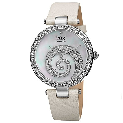 Burgi Women's BUR143WT  Round White Mother of Pearl and Silver Dial with Swarovski Crystals Quartz Movement Satin Strap (Swarovski Mop Dial)