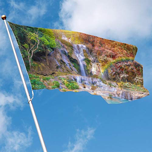 YUANSHAN Home Garden Flag Autumn Waterfall Polyester Flag Indoor/Outdoor Wall Banners Decorative Flag 3' X 5'