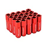 20pcs Red Wheel Racing Lug Nuts M12x1.5 60mm for Honda Mazda 6 Toyota Camry Mitsubishi Eclipse Lancer