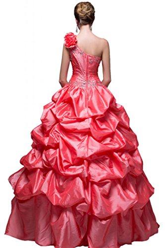 Partykleider Abendkleider Ein-schulter Satin Glamour Rot Sunvary Lang Ballkleider
