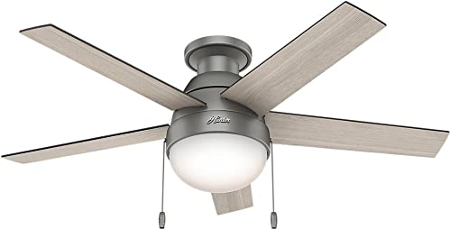 Hunter Fan Company 59270 Hunter Anslee Indoor Low Profile Ceiling Fan with LED Light and Pull Chain Control, 46 , Matte Silver
