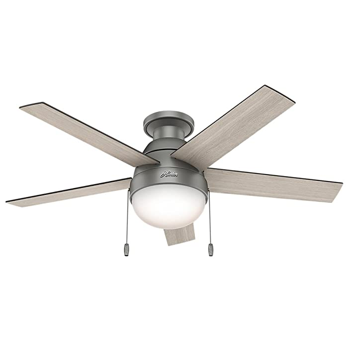 Hunter Indoor Low Profile Ceiling Fan with light and pull chain control - Anslee 46 inch, Matte Silver, 59270