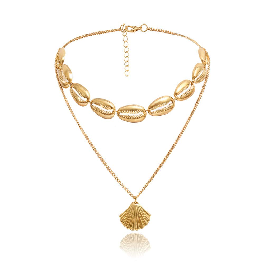 Mrotrida Handmade Velvet Rope Shell Choker Necklace with Shell Tassels Earrings for Girls Ladies Beach Party Anniversary Wedding Party Valentine's Day (Gold-B)