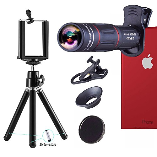 Telephoto Lens,18X Telephoto Zoom Lens Kit,Optical Camera Telescope Zoom Lens Attachment + Universal Clip + Phone Holder + Tripod for iPhone, Samsung Most Smartphone from ATFUNG