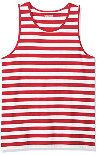 Amazon Essentials Men's Slim-Fit Ringer Tank Top, Red/White Stripe, X-Small ()