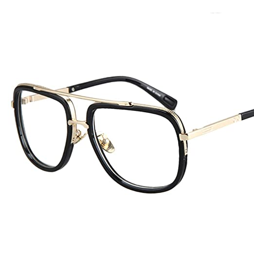 44f9a105ae7 Square Frame Glasses Male Half Metal Frame Clear Lens Retro Eyeglasses  Women (black)