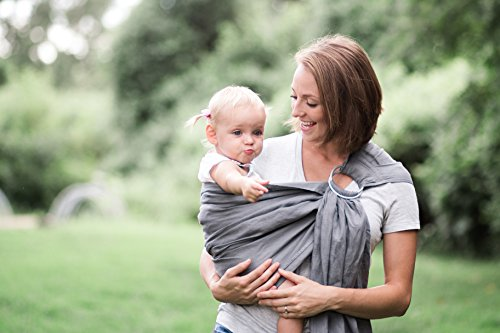 Bibetts Pure Linen Ring Sling Gray Baby Carrier – CPSIA Compliant – Infant, Toddler and Baby Carrier