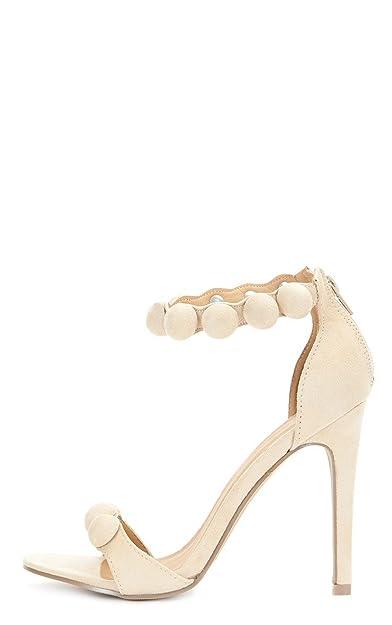 220a8ad6db3 Cream Womens Una Cream Suede Studded Strappy Heeled Sandal - 3 - Cream