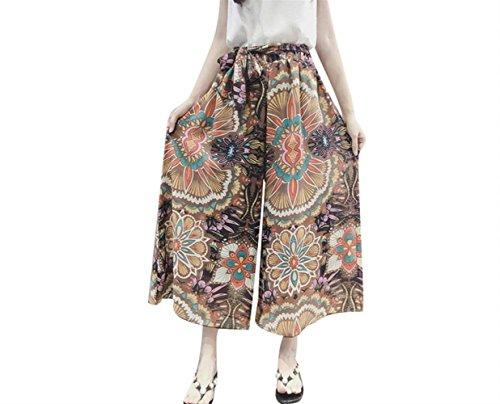 Élégant Palazzo Casual Loisirs De Plage Mousseline Femmes Blume Impression Soie En Confortable Pantalons Grandes Orangene Bretelles Aéré Culotte Été qPzxfCE