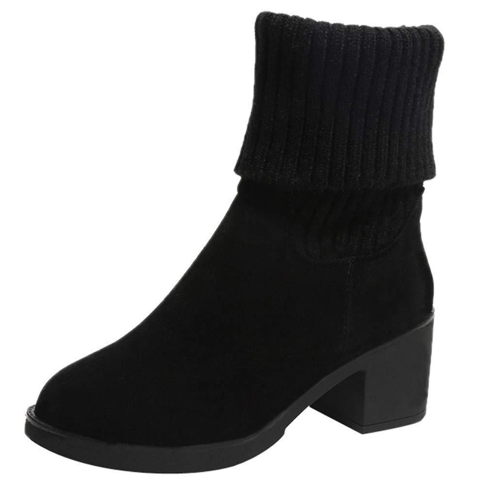 Schuhe Damen Stiefel Freizeitschuhe Winterstiefel Stiefeletten Kurze Stiefel Mode Frauen Frauen Frauen Wildleder Slip On Round Toe High Heel Falten Stiefelies Warm Halten (Farbe   Schwarz, Größe   37 EU) 2f62f1