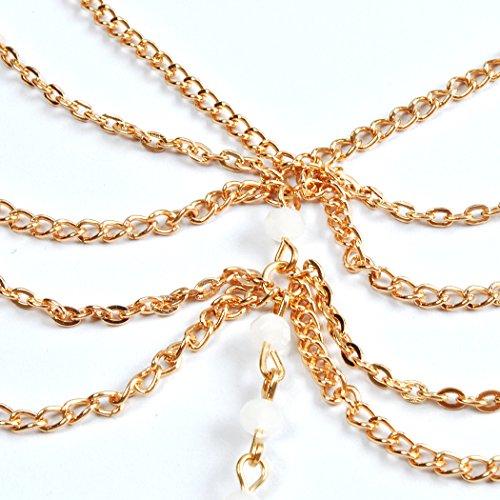 Jane Stone Bracelet de Cheville Pied Perles Cristal Multi Rangs Femme Plage Accessoire Tendance Couleur Dore