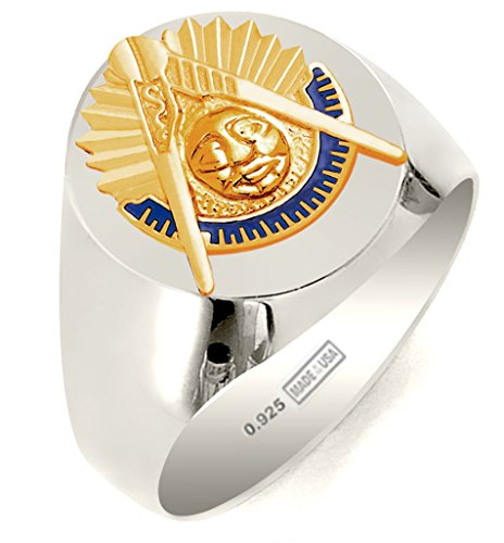 Past Masters Jewel (Customizable Solid Back Men's 0.925 Sterling Silver with Gold Vermeil Emblems Masonic Past Master Ring, Size 11)