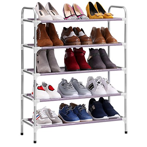 Finether Stackable Adjustable 5-Tier Shoe Rack Shoe Tower Shelving Storage Organizer for Entryway Closet Living Room Bedroom (5-Tier)