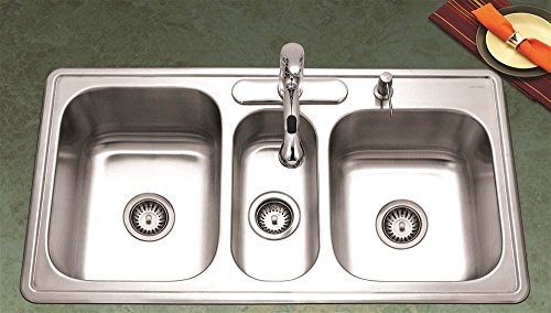 Bowl Gourmet Sink - Houzer PGT-4322-1 Premiere Gourmet Series Topmount Stainless Steel 4-Hole Triple Bowl Kitchen Sink